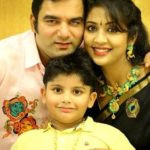 Navya Nair with her husband Santhosh Menon and son Sai Krishna