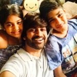 Manish Goel with his daughter and son