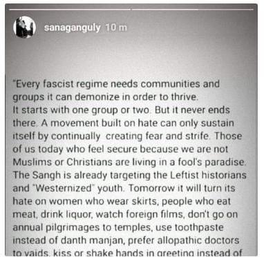 Sana Ganguly's Instagram Post