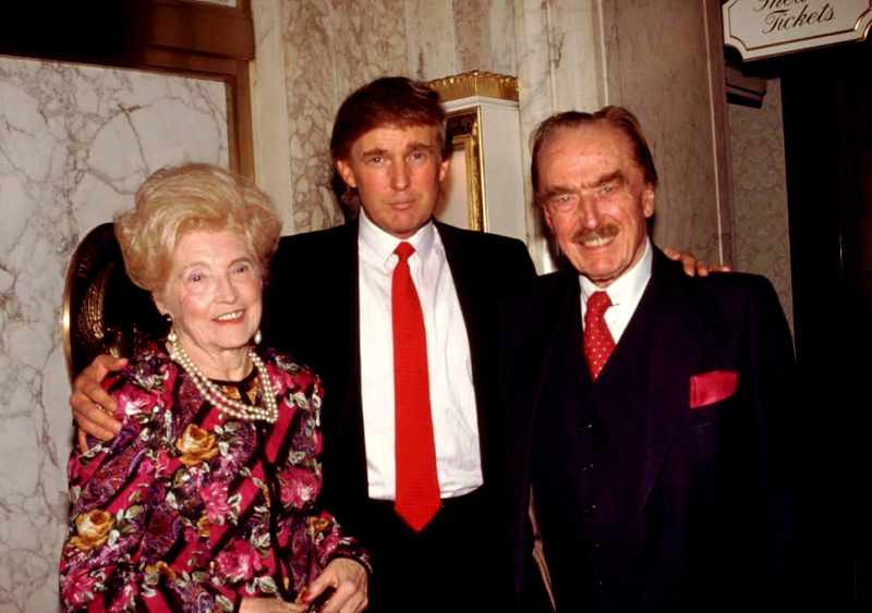 Donald Trump (centre) with his father Fred (right) and mother Mary (left)