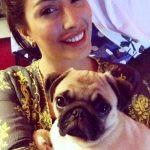 Mehwish Hayat with her pet dog