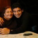 Diego Maradona with his mother