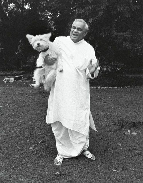 Atal Bihari Vajpayee Playing With A Dog