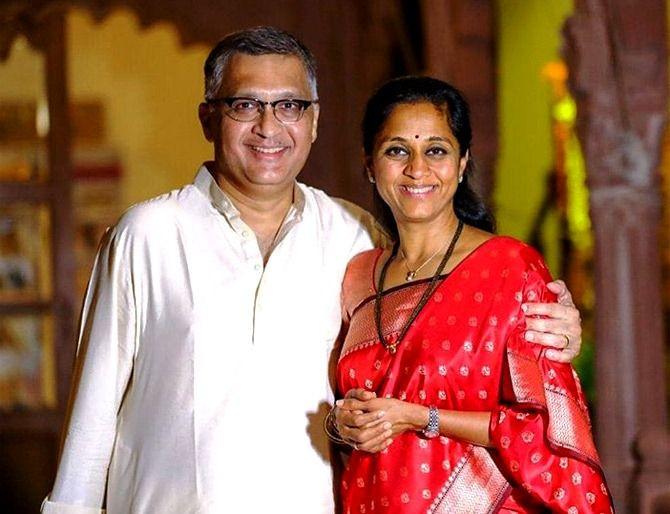Supriya Sule with her husband Sadanand Sule