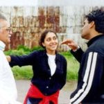 Meghna Gulzar With Her Father And Sunil Shetty on The Set of Hu Tu Tu