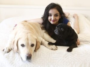 Aisha Chaudhary with her Pets