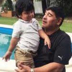 Diego Maradona with his son Diego Fernando Maradona