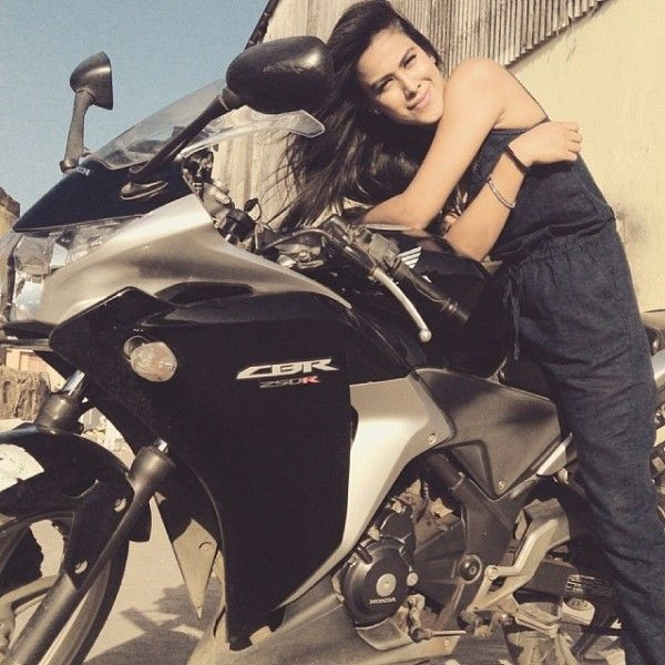 Nia Sharma Posing With A Bike