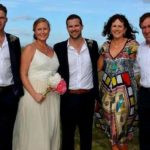 Lockie Ferguson with his parents, brother Mitch Ferguson, and sister-in-law Hayley Ferguson