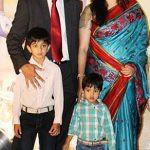 Rahul with his wife Vijeta Pendharkar and sons Samit and Anvay