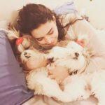 Shweta Bhardwaj with her pet dogs