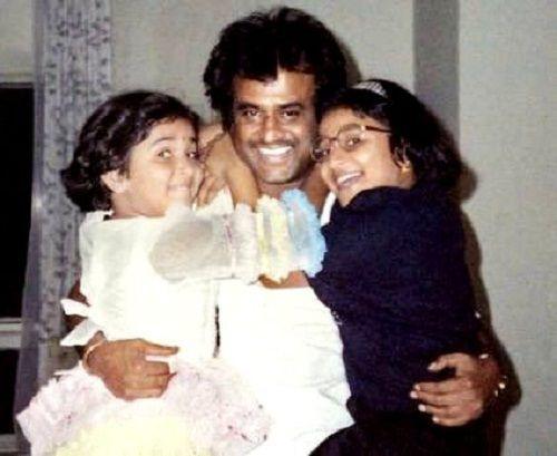 Soundarya Rajinikanth childhood picture (Left) with her father Rajinikanth and sister Aishwarya R. Dhanush (Right)