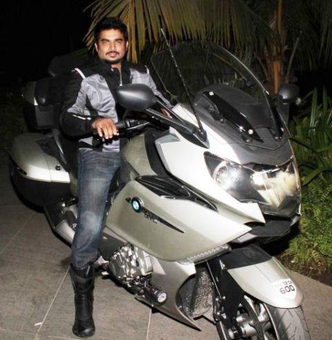 R. Madhavan riding his BMW K1600 GTL