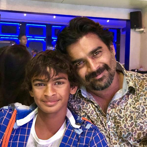 R. Madhavan and his son