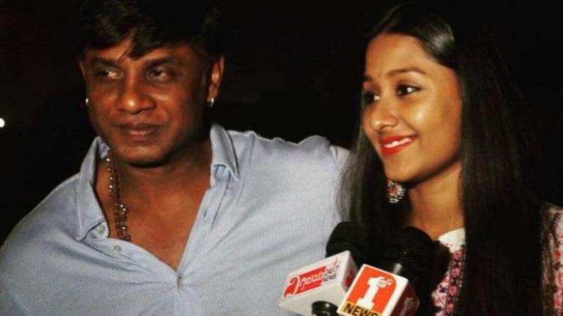 Duniya Vijay with his daughter Monika