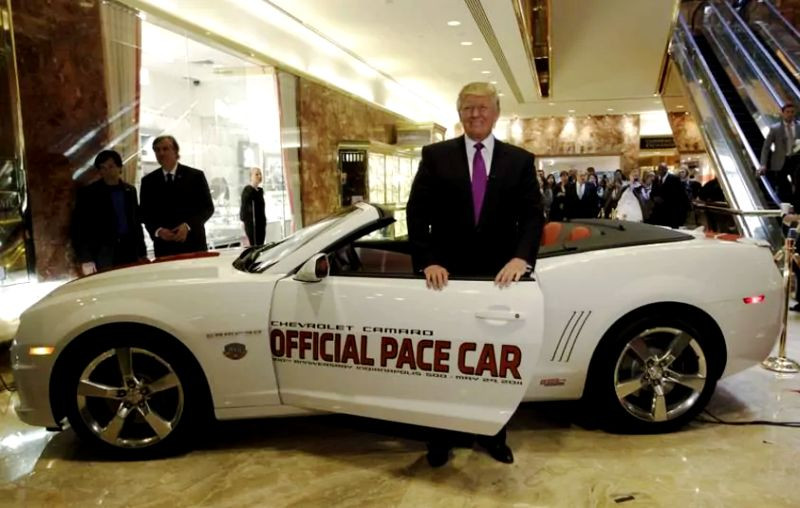 Donald Trump with his 2011 Chevy Camaro Indy 500 Pace Car