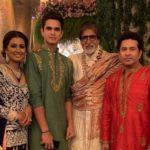 Arjun Tendulkar With His Parents And Amitabh Bachchan