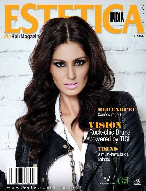 Bruna Abdullah on the cover of Estetica India magazine