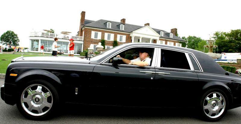 Donald Trump in his 2015 Rolls-Royce Phantom