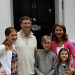 Bill Gates with his wife and children