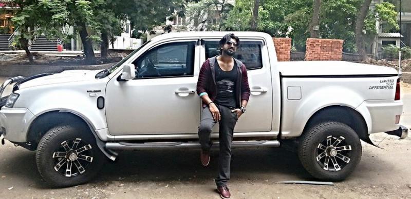 Arun Vijay Posing with His Pick Up Truck