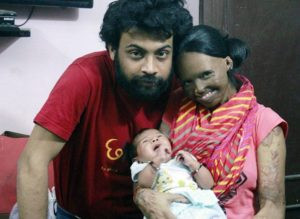Laxmi Agarwal with her partner, Alok and daughter, Pihu
