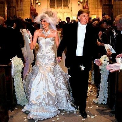 Donald Trump with his wife Melania Trump on their wedding day