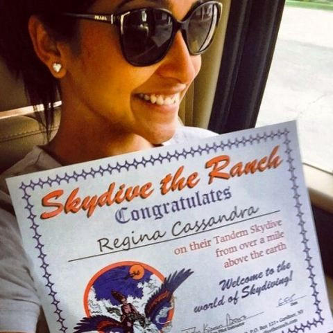 Regina Cassandra With A Certificate in Skydiving