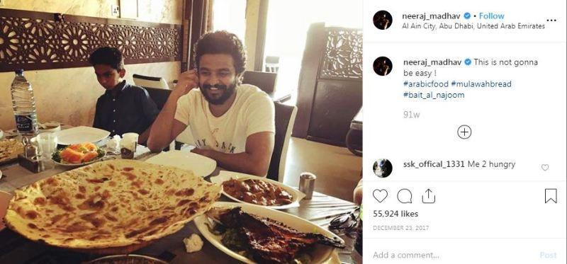 Neeraj Madhav Eating Non-Vegetarian Food