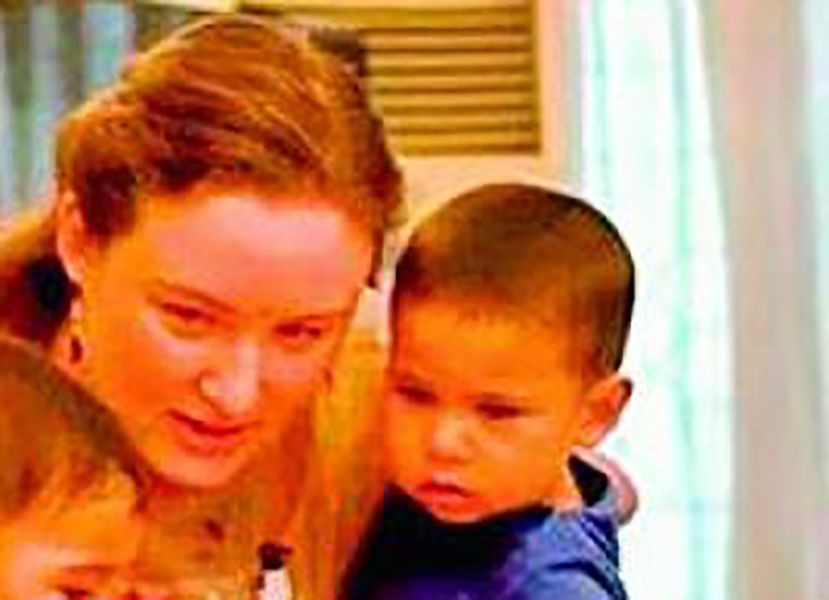 Anna Lezhneva with her son