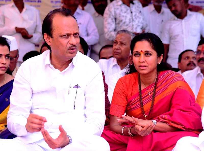 Supriya Sule with Ajit Pawar