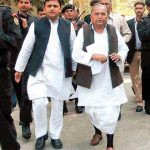 Mulayam Singh Yadav with his son Akhilesh Yadav