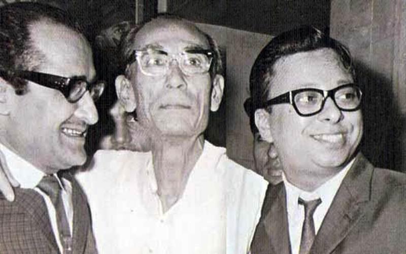 S. D. Burman with Naasir Hussain and R. D. Burman