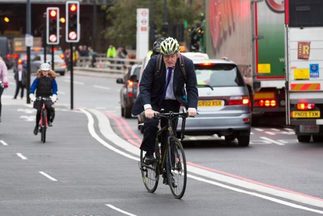 Boris Johnson riding bike