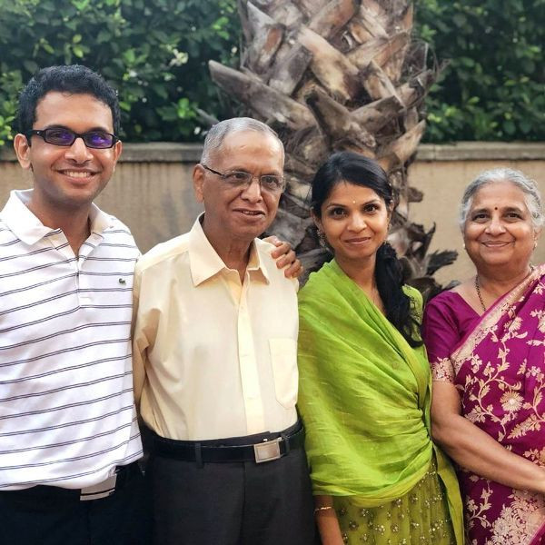 Akshata Murthy with Her Parents and Brother