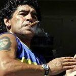 Diego Maradona smoking