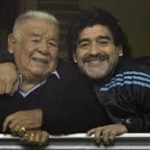 Diego Maradona with his father