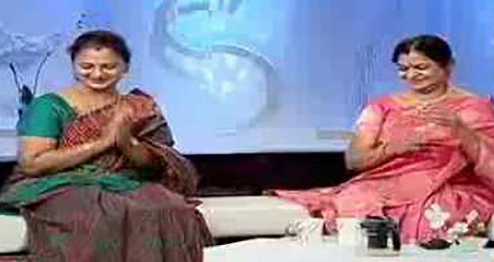 Vijaya Chamundeshwari with her sister Kamala