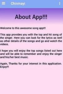 About Chinmayi's App