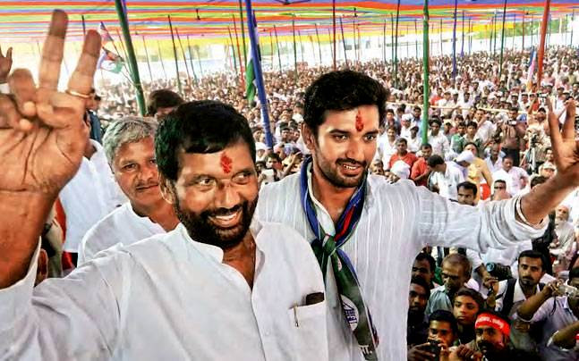 Chirag Paswan with his father Ram Vilas Paswan during his first rally after joining the LJP