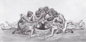 Thug Behram killing the victims along with his group (a painter's imagination)