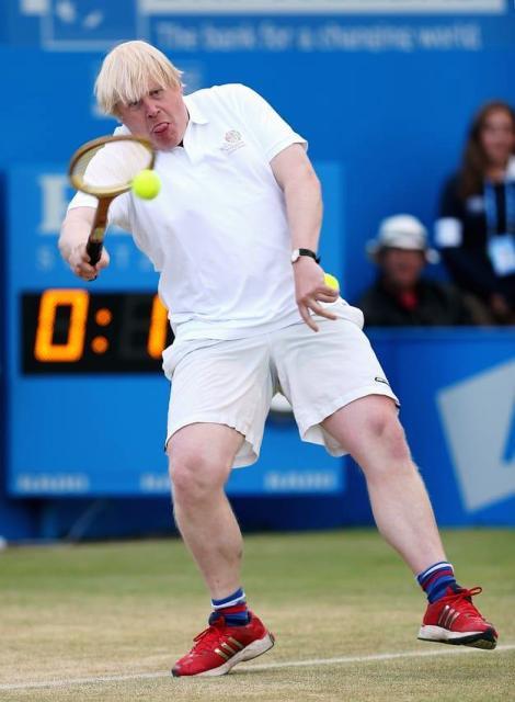 Boris Johnson playing Tennis