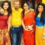 Gayathri Suresh with her parents and sister Kalyani Suresh