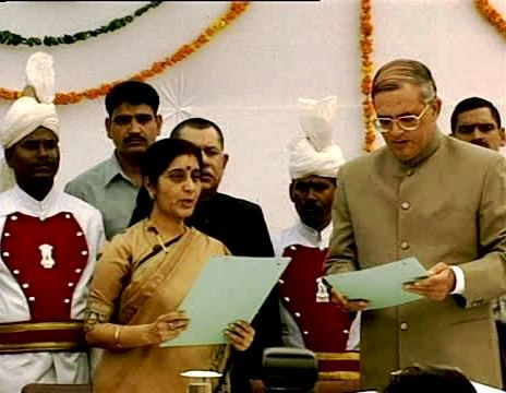 Sushma Swaraj Being Sworn In As The Delhi CM