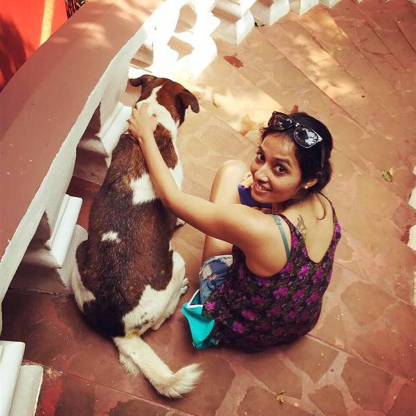 Aparna Krishnan with Her Dog