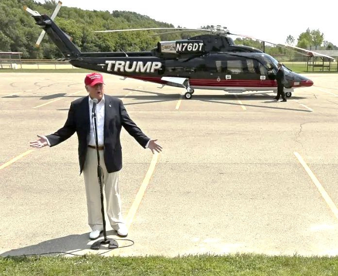 Donald Trump with his Sikorsky S-76 Helicopter