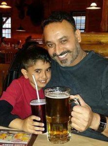 Rana Ahluwalia drinking beer