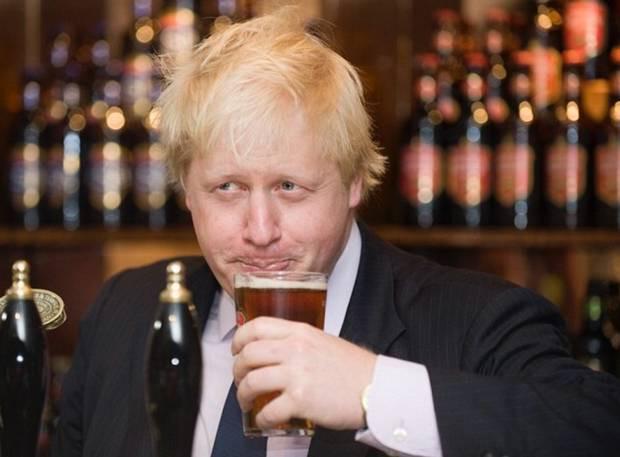 Boris Johnson while drinking beer
