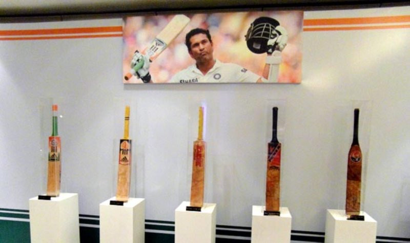 Some of the bats used by Sachin Tendulkar during his career