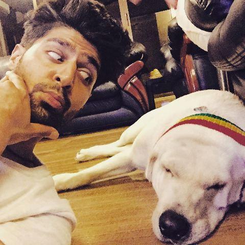 Tanuj Virwani with his pet dog